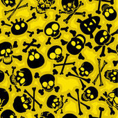 Skull & Crossbones Seamless Pattern in yellow background