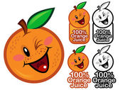 Happy 100% Orange Juice Seal Mark or Icon