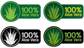 Four different applications of a certified seal for 100% Aloe Vera Products