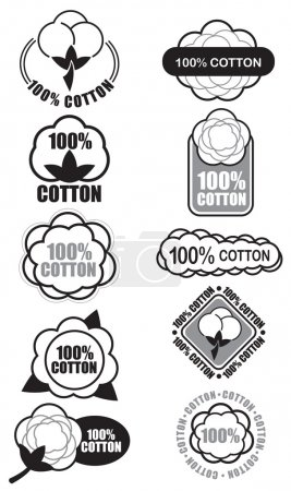 Illustration for Certify Seal of 100% Cotton Isolated, ideal for cotton products such a clothes and materials - Royalty Free Image