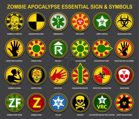 Illustration for A complete an useful collection of all necessary signs and symbols for the Zombie Apocalypse. - Royalty Free Image