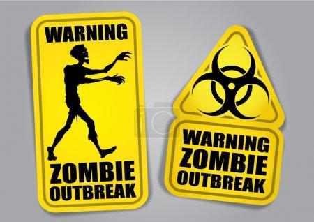 Zombie Outbreak Warning Stickers, Labels