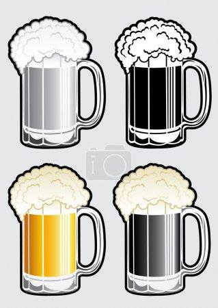 Illustration for Set of four variations of a Beer Mug. - Royalty Free Image