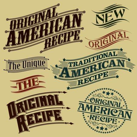Illustration for Retro Original Recipe Calligraphic Designs - Royalty Free Image