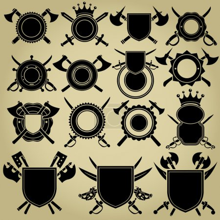 Illustration for Retro Styled Seals with crossed Swords and Axes - Royalty Free Image