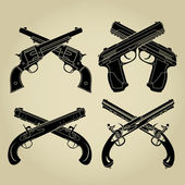 Evolution of Firearms Crossed Flintlock Percussion Cartridge and Automatic Pistol Silhouettes