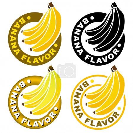Illustration for Banana Flavor Seal or Mark - Royalty Free Image