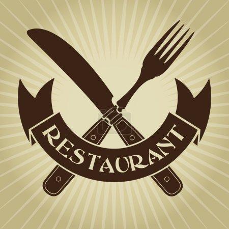 Illustration pour Couteau et fourchette de style vintage, Sceau de restaurant - image libre de droit