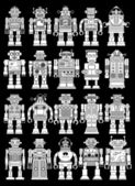 Collection of twenty Vintage Tin Toy Robots on Black Background