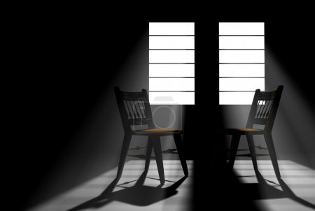 Two Empty Chairs in a Darkened Room