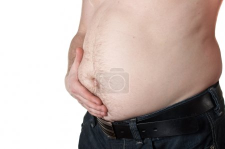 Holding stomach in