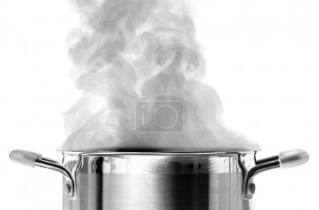 Boiling water in a saucepan over white background...