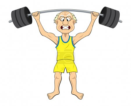 Old man lifting weight
