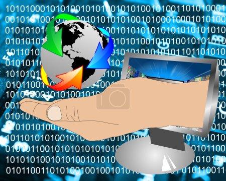 Photo pour Composition abstraite, qui montre une main de l'homme qui sort de moniteur d'ordinateur et prend en charge de la terre. - image libre de droit