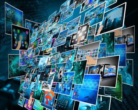 Photo pour Composition abstraite qui montre une variété d'images différentes sur le thème des ordinateurs et de la haute technologie - image libre de droit