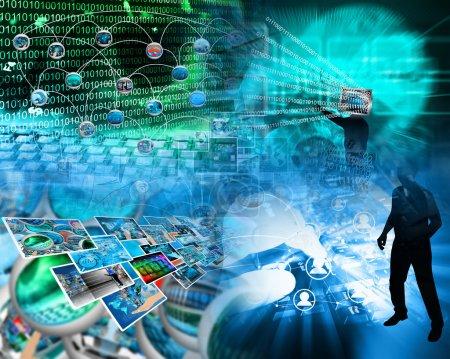 Photo pour Image abstraite sur les ordinateurs, Internet, les communications et la haute technologie . - image libre de droit