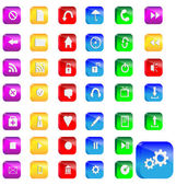 A small collection of colored icons and buttons for different needs