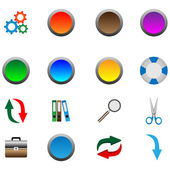 A small collection of color 3D icons for various necessities