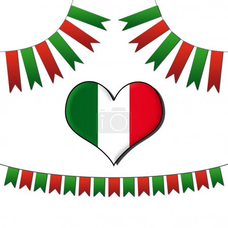 Buntings and Heart in Italian colors...