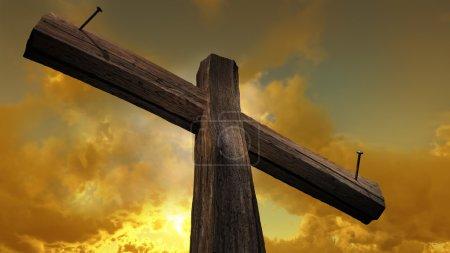 Photo pour Croix en bois contre le ciel avec des rayons brillants - image libre de droit