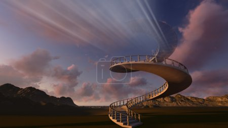 Photo for Stairway to heaven made in 3d software - Royalty Free Image