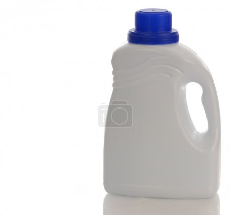 Photo for White plastic detergent bottle with reflection on white background - Royalty Free Image