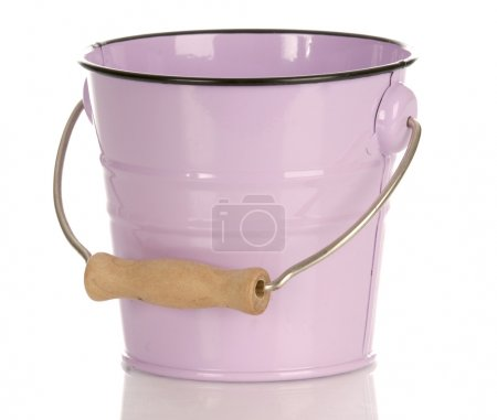 pink bucket with reflection isolated on white background