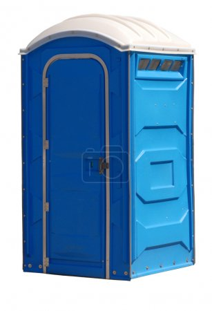 Photo for Portable johnny on the spot or outhouse isolated on white - Royalty Free Image
