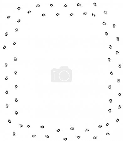 Dog paw print border on white background