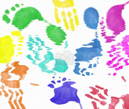 multi colored expressive hand and foot prints background