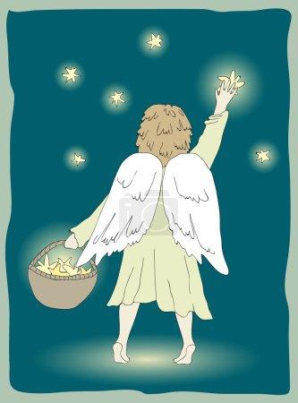 Illustration pour Petit ange recueille des étoiles du ciel dans le panier - image libre de droit