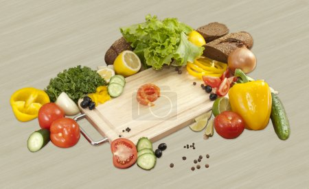 Composition of vegetables and little salmon