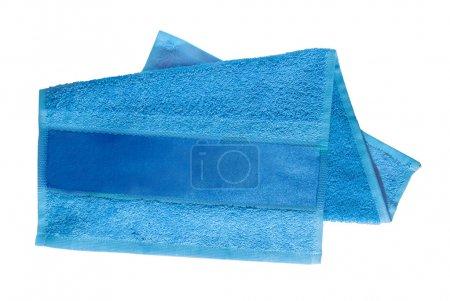 Photo pour Serviette bleue pour visage et mains avec ruban adhésif - image libre de droit