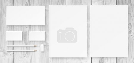 Photo for Illustration of branding identity mock up including blanks, business cards, pencils, rubber and envelope - Royalty Free Image