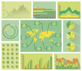 Vector set of infopraphics concerning to energy ecology and sustainable development themes  including pie charts area chart column charts bar chart line graphic icons