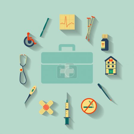 Illustration for Vector set of flat icons set concerning to medicine, health, healthcare and other medical themes - Royalty Free Image