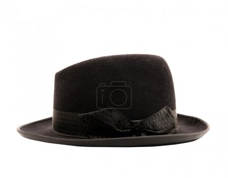 Photo for Black classic hat isolated on white - Royalty Free Image