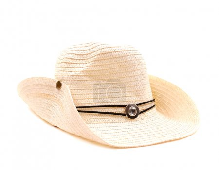 Photo pour Chapeau de paille cow-boy blanc - image libre de droit