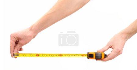 Tape measure in hands