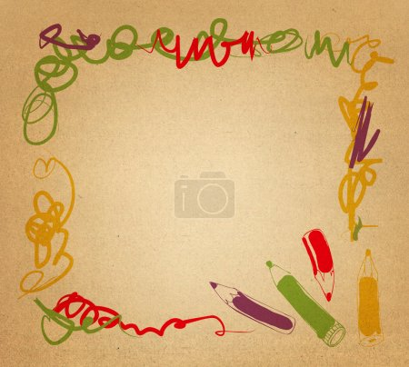 Photo for Hand drawn background with pencils and place for text - Royalty Free Image