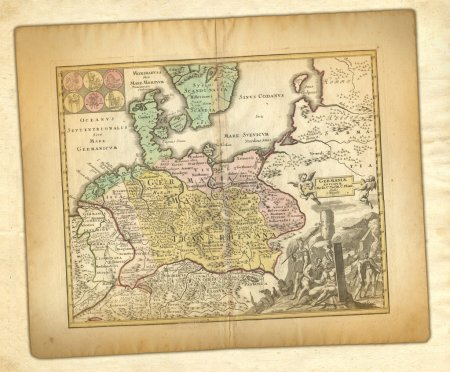 Photo pour Carte ancienne de l'Allemagne . - image libre de droit