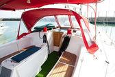 Lounge cockpit inside a boat.