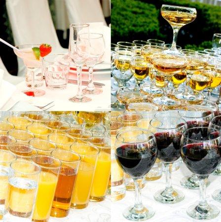 Photo pour Fond de boissons pour une table de buffet - image libre de droit