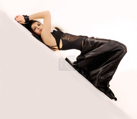 Attractive binding woman in black.