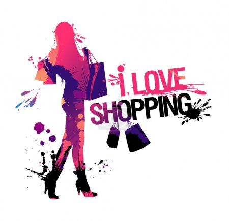 Illustration pour Shopping la silhouette de la femme. J'adore faire du shopping, illustration vectorielle avec des touches. - image libre de droit