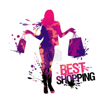 Illustration for Shopping woman silhouette.Best shopping, vector illustration with splashes. - Royalty Free Image