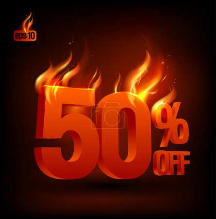 Fiery 50 percent off, sale background.