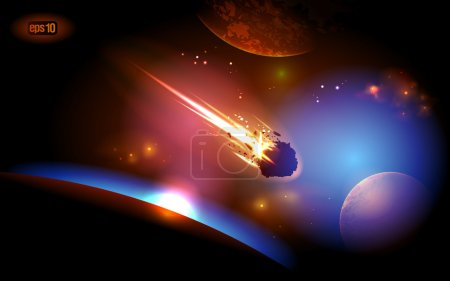 Illustration for Asteroid is approaches the planet. Eps 10. - Royalty Free Image