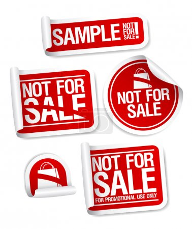 Sample not for sale stickers.