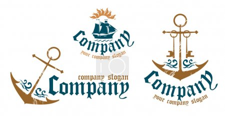 Illustration for Design examples of symbols for marine firms. - Royalty Free Image